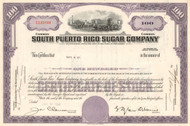 South Puerto Rico Sugar Company stock certificate 1960's - purple