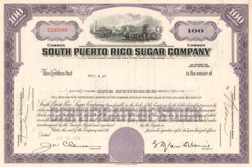 South Puerto Rico Sugar Company stock certificate 1960's - purple