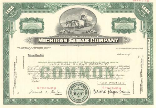 Michigan Sugar Company stock certificate specimen  (sugar beets)