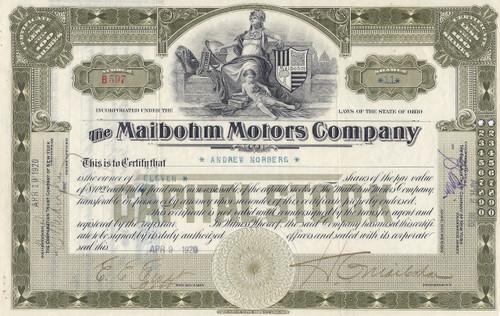 Maibohm Motors Company stock certificate