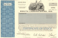Zenith Laboratories Inc. stock certificate 1980's (pharma)