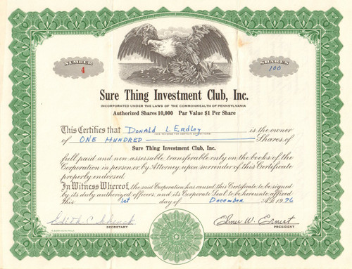Sure Thing Investment Club stock certificate 1976 (Pennsylvania)
