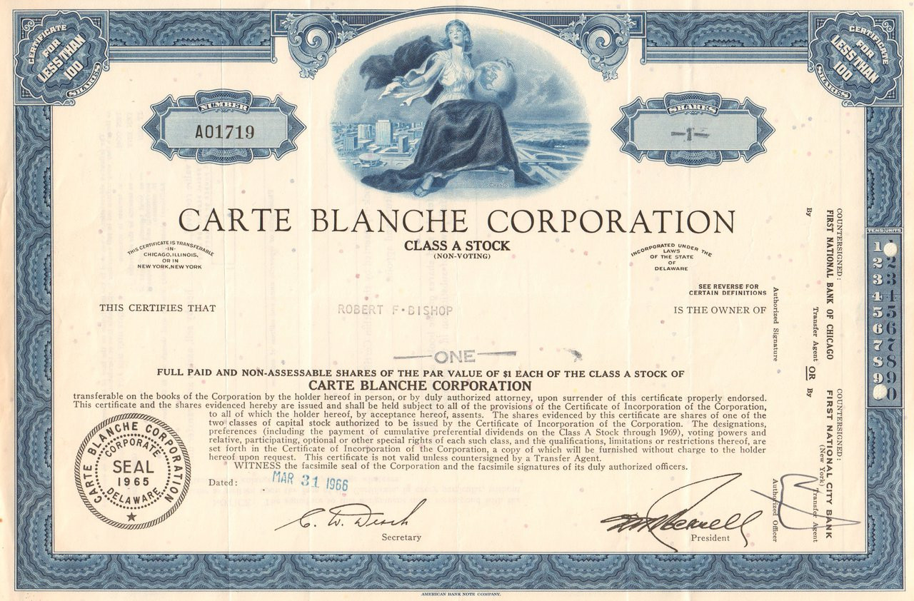 Opposition Carte American Express Corporate.Carte Blanche Corporation Stock Certificate 1966 Credit Cards