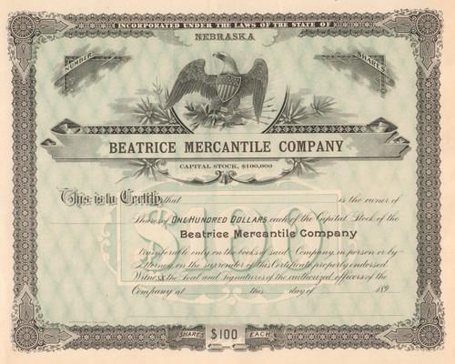 Beatrice Mercantile Company stock certificate circa 1895 (Nebraska)