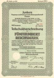 Junkers Flugzeug- und Motorenwerke AG bond certificate 1942  (Nazi aircraft)