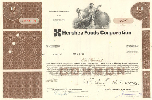 Hershey Foods Corporation stock certificate 1970's  (chocolate)