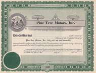 Pine Tree Motors stock certificate circa 1910