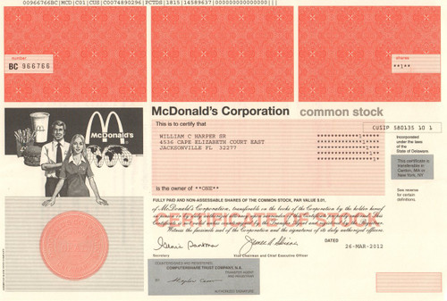 McDonald's Corporation stock certificate 2012 (burgers and fries)