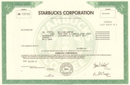 Starbucks Corporation stock certificate 2012 (coffee)