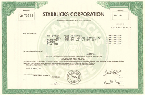 Starbucks Corporation stock certificate 2012 (coffee)