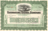 Submarine Signal Company stock certificate 1936 (fathometer)