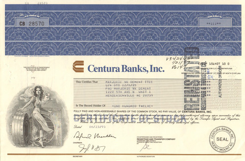 Centura Banks Inc. stock certificate 1990's (North Carolina)