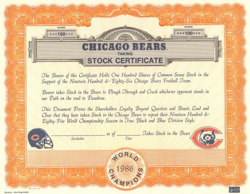 Chicago Bears Taking Stock stock certificate 1986 (football fans)