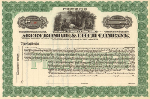 Abercrombie & Fitch Company stock certificate circa 1920 (clothing retail chain)
