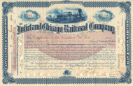 Joliet and Chicago Railroad Company stock certificate 1900 (Illinois)
