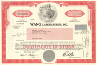 Wang Laboratories Inc. stock certificate 1992 (Massachusetts)