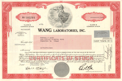 Wang Laboratories Inc. stock certificate 1992 (Massachusetts)