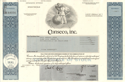 Conseco Inc. stock certificate 2002 (3rd largest bankruptcy)