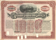 Atchison, Topeka, and Santa Fe Railway $10,000 horizontal bond 1889