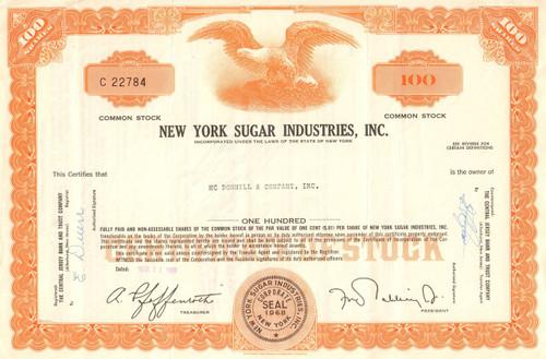 New York Sugar Industries Inc. stock certificate 1969 (sugar beets)
