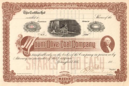 Mount Olive Coal Company stock certificate 1880's (Illinois)