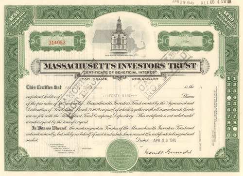 Massachusetts Investment Trust  stock certificate 1948 (1st mutual fund)