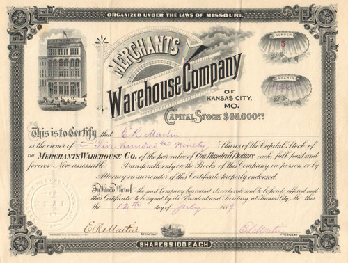 Merchants Warehouse Company stock certificate 1889 (Kansas City MO)