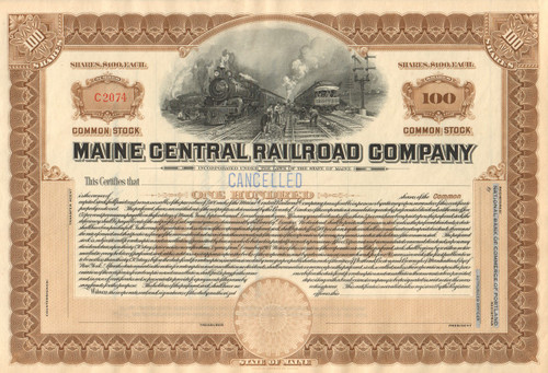 Maine Central Railroad Company stock certificate circa 1920 - light brown