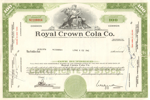 Royal Crown Cola Co.  stock certificate 1968 (soft drinks)