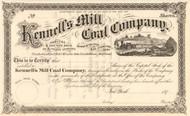 Kennell's Mill Coal Company stock certificate circa 1873 (Pennsylvania)