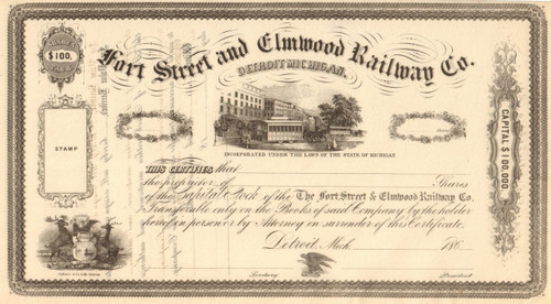 Fort Street and Elmwood Railway Co. stock certificate circa 1866 (Detroit Michigan)