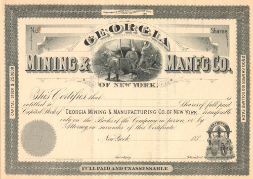 Georgia Mining and Manfg Co. of New York stock certificate circa 1881 (coal and iron)