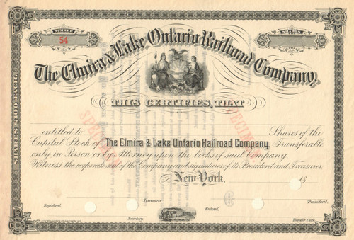 Elmira and Lake Ontario Railroad Company stock certificate circa 1886 (New York)