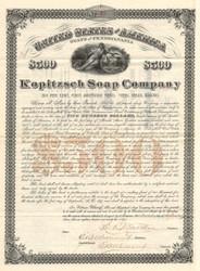 Kopitzsch Soap Company $500 bond certificate 1892 (Pennsylvania)