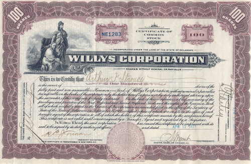 Willy Corporation stock certificate 1921