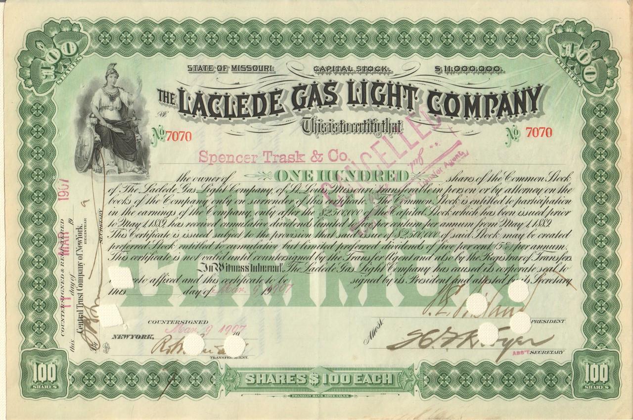 Laclede Gas Light Company Stock Certificate 1900 S Missouri