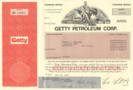 Getty Petroleum Corp stock certificate 1980's (oil)