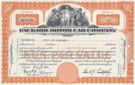 Packard Motor Car Company stock certificate - orange