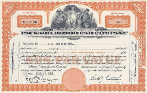 Packard Motor Car Company stock certificate - orange
