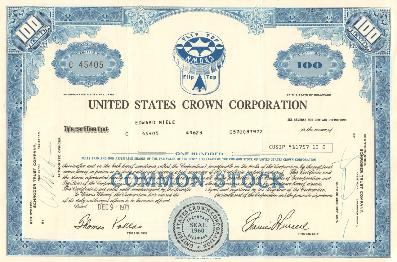 United States Crown Corporation Stock Certificate 1971 Bottle Caps
