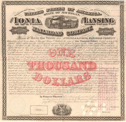 Ionia and Lansing Railroad Company $1000 bond certificate 1869 (Michigan)