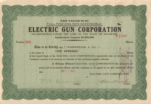 Electric Gun corporation stock certificate - electromagnetic artillery company