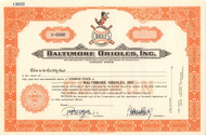 Rare Baltimore Orioles stock certificate - clean, unissued speciment. perfect gift for the baseball fan