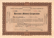 Harroun Motors Corporation stock certificate - first indy 500 winner