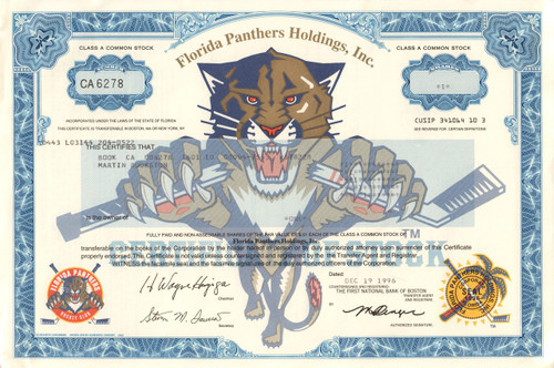 Florida Panthers stock certificate (1996) - NHL hockey