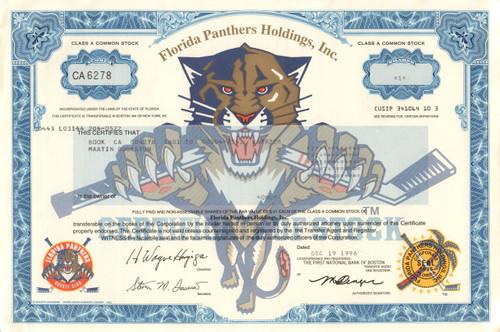 Florida Panthers stock certificate (1996) - NHL hockey