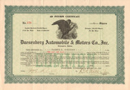 Duesenberg Automobile and Motors Co stock certificate 1921