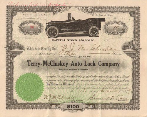 Terry-McCluskey Auto Lock Company 1919 stock certificate