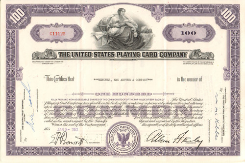 United States Playing Card Company stock certificate