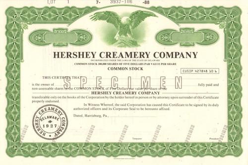 Hershey Creamery Company specimen stock certificate